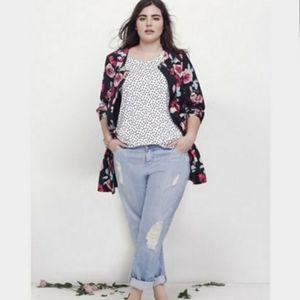 Sejour Black Floral Swing Jacket Size 18